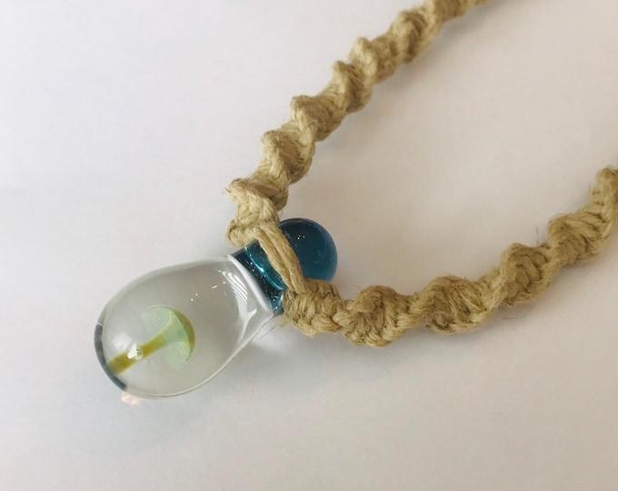 Hemp Necklace with Blown Glass Mushroom