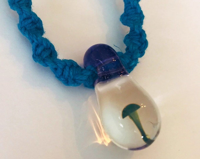 Blue Hemp Necklace with Glass Mushroom Pendant