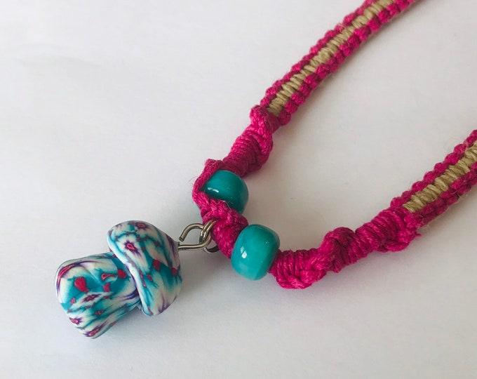 Mushroom Pendant on Pink and Natural Hemp Handmade Necklace