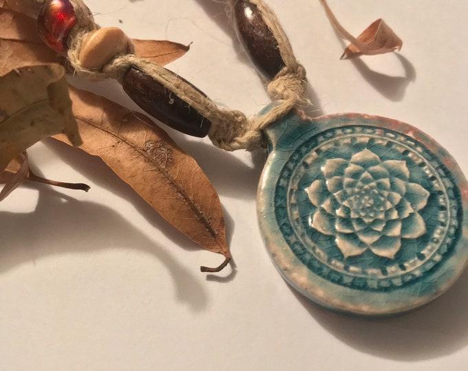 Lotus Hemp Necklace Raku