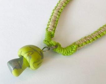 Handmade Hemp Choker Necklace with Clay Mushroom Pendant