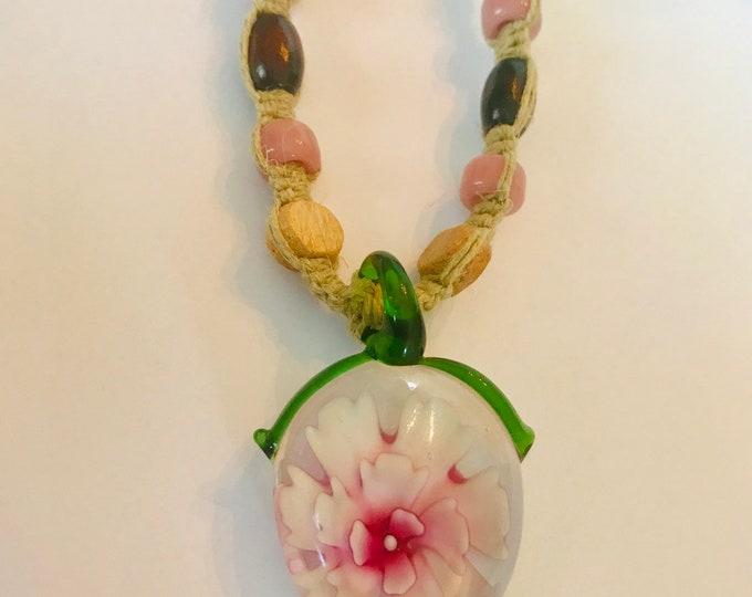 Handmade Hemp Necklace with Glass Flower Pendant