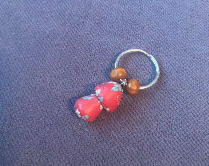 Red Fimo Clay Mushroom Keychain