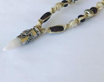 Handmade Hemp Necklace with Stone Bullet Flowered Pendant