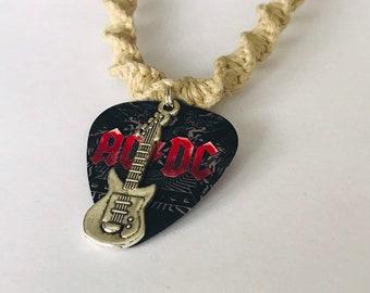 Ac/DC Guitar Pick Hemp Necklace Black
