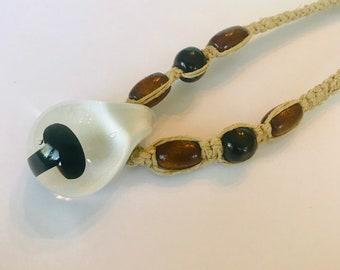 Black Mushroom Blown Glass Pendant on Handmade Hemp Necklace