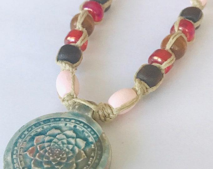 Handmade Hemp Necklace with Raku Lotus Pendant Pink