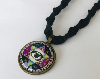 Ouija/ All Seeing Eye Pendant on Handmade Black Hemp Necklace