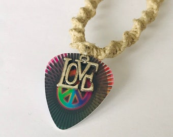 Peace and Love Hemp Necklace
