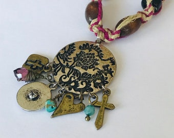 Handmade Hemp Necklace with Dangle Pendant