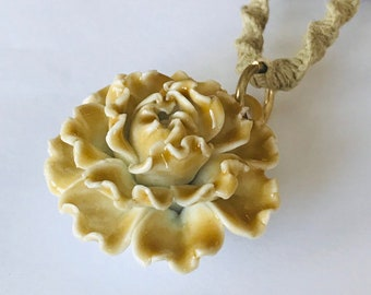 Large Flower Pendant on Handmade Hemp Necklace