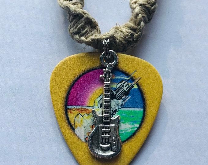 Pink Floyd Guitar Pick Pendant on a Handmade Hemp Rope Necklace