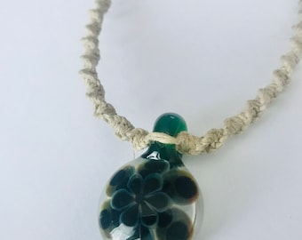 Handmade Hemp Necklace with Blown Glass Flower Pendant