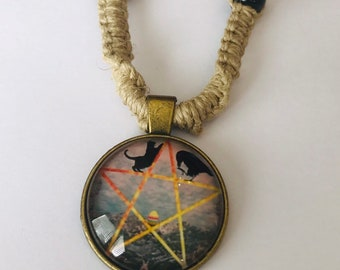 Handmade Hemp Necklace with Cabochon Pentacle Pendant