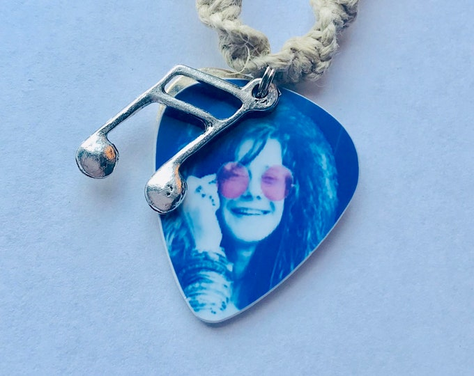 Janis Joplin Guitar Pick Hemp Necklace
