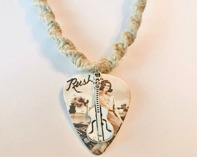 Rush Guitar Pick Pendant Hemp Necklace