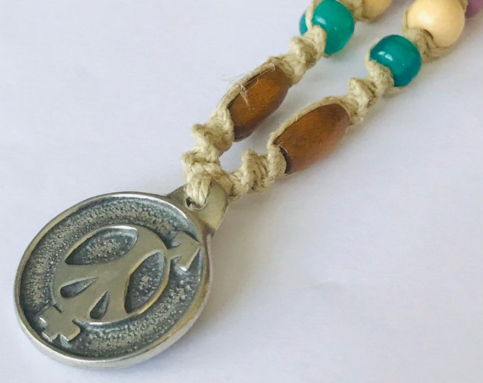 Peace Sign Handmade Hemp Necklace