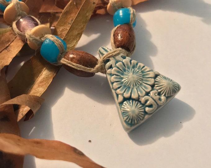 Handmade Hemp Necklace with Peruvian Raku Sunflower Pendant