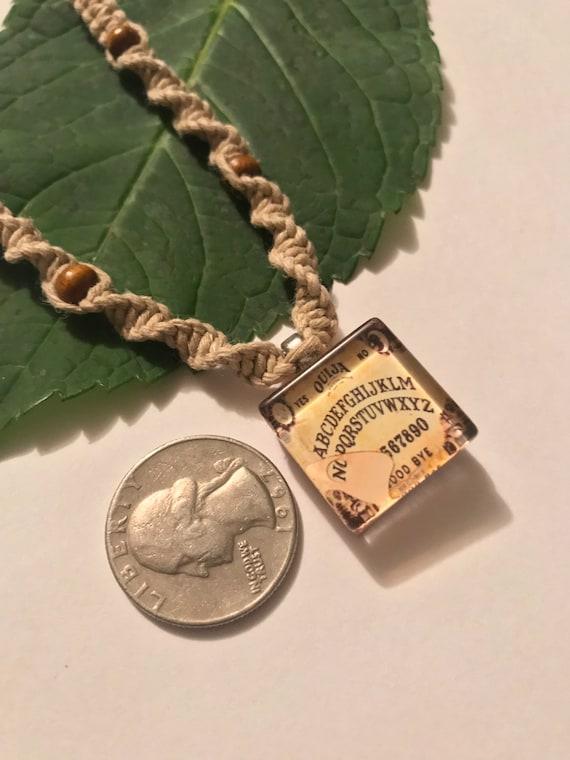 Handmade Hemp Necklace with Ouija Scabble Tile Pendant