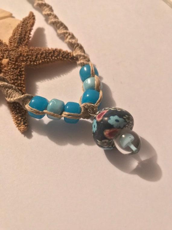 Fimo Capped Mushroom Pendant on Handmade Hemp Necklace