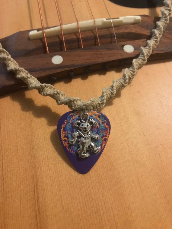 Deadhead Grateful Dead Dancing Bear Handmade Hemp Necklace