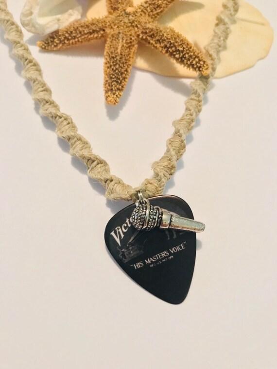 Handmade Hemp Guitar Pick Pendant Necklace Victor Records Vinyl