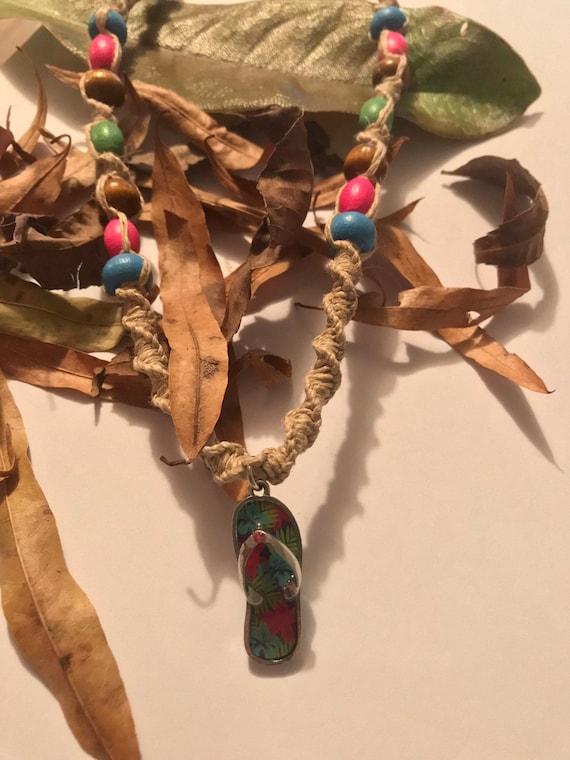 Flip Flop Handmade Hemp Necklace