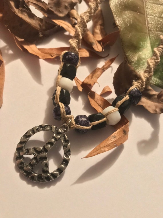 Handmade Hemp Necklace with Peace Sign Pendant