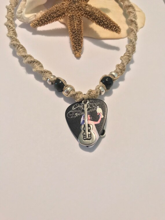 Stevie Nicks Guitar Pick Pendant on Handmade Hemp Necklace
