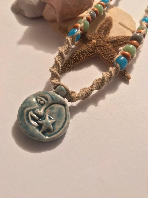 Raku Moon and Stars Handmade Hemp Necklace