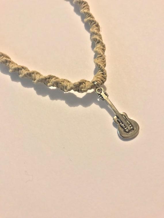 Handmade Hemp Necklace with Guitar Charm