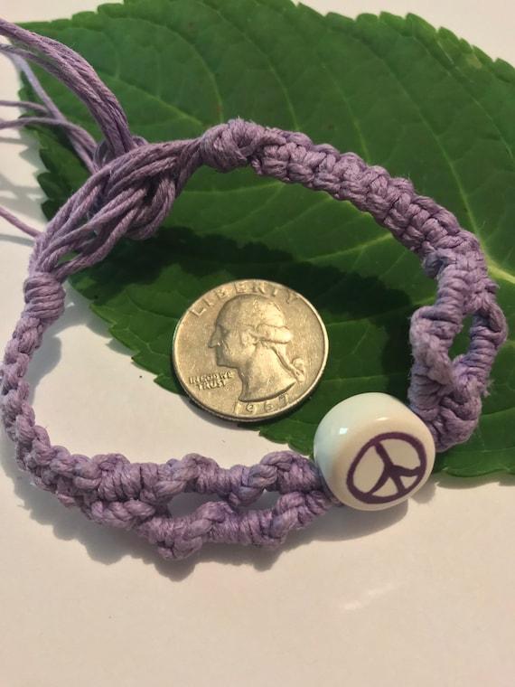 Purple Peace Sign Hemp Bracelet