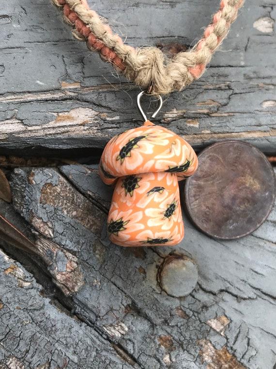 Handmade Hemp Necklace with Clay Mushroom Pendant Coral
