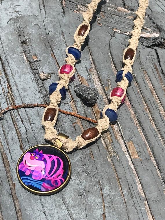Alice In Wonderland Cat Cabochon Pendant on Handmade Hemp Necklace