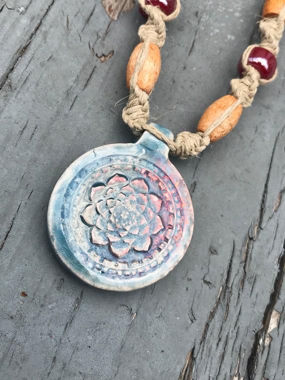 Peruvian Raku Lotus Pendant on a Handmade Hemp Necklace