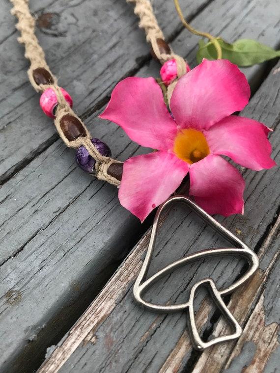 Pewter Mushroom Cut Out Pendant on Handmade Hemp Necklace