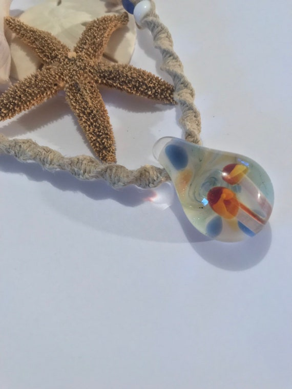 Double Mushroom Blown Glass Pendant on Handmade Hemp Necklace