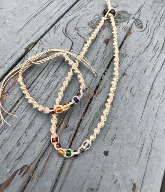 Rainbow Pride Matching Handmade Hemp Necklace and Bracelet Set
