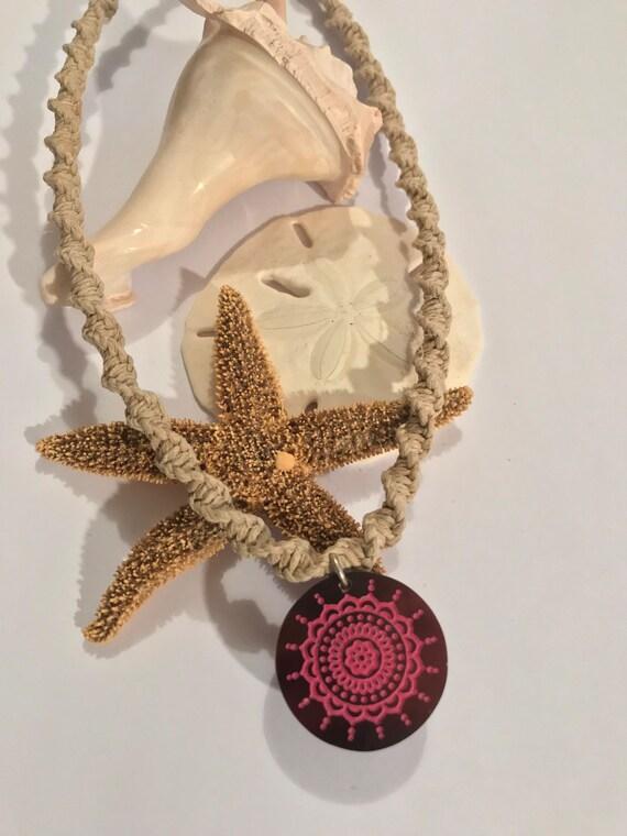 Handmade Hemp Necklace with Pink Shell Tribal Pendant