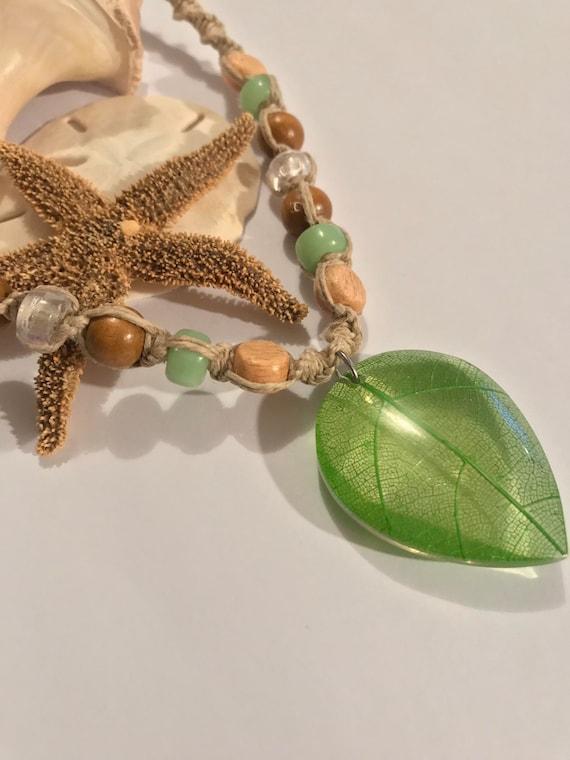 Leaf Pendant on Handmade Hemp Necklace