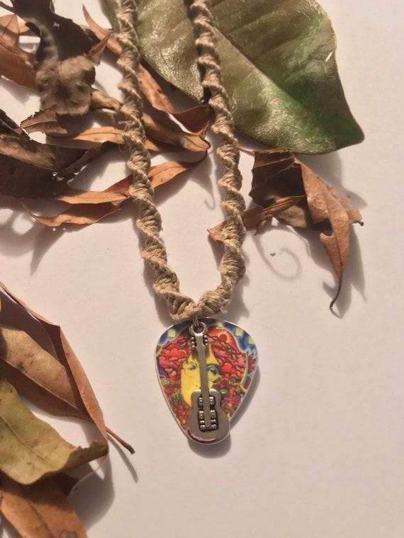 Handmade Hemp Necklace with Beatles John Lennon Guitar Pick