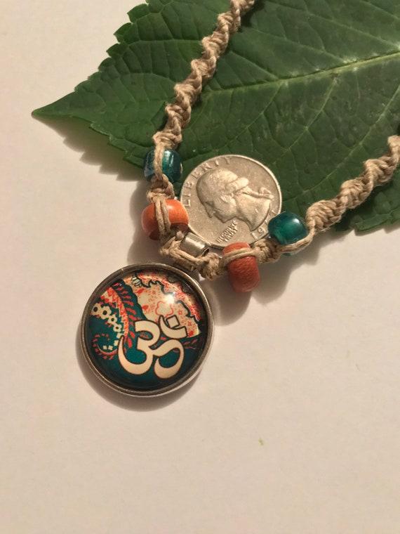Handmade Hemp Necklace with Cabochon Ohm Pendant
