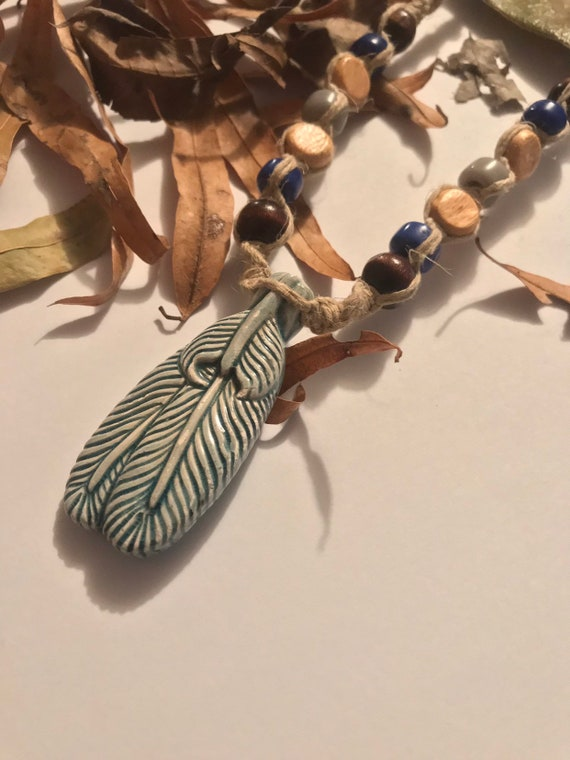 Raku Feather on Handmade Hemp Necklace