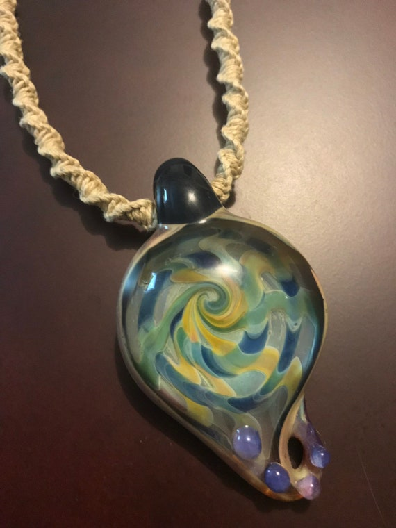 Large Hand Blown Glass Focal Pendant on Handmade Hemp Rope Necklace