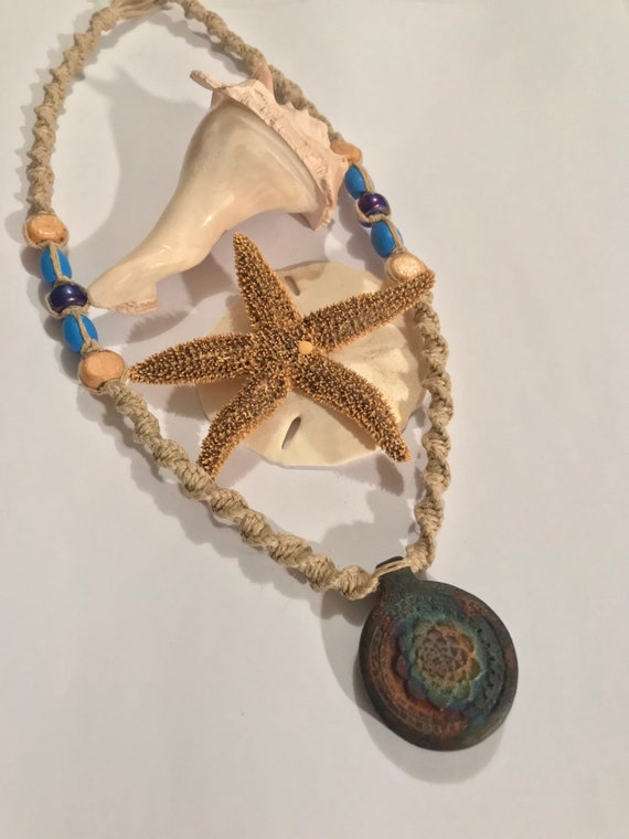 Matte Raku Peruvian Lotus Pottery Pendant on Handmade Hemp Necklace