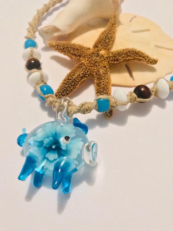Handmade Blown Glass Pig Hemp Necklace