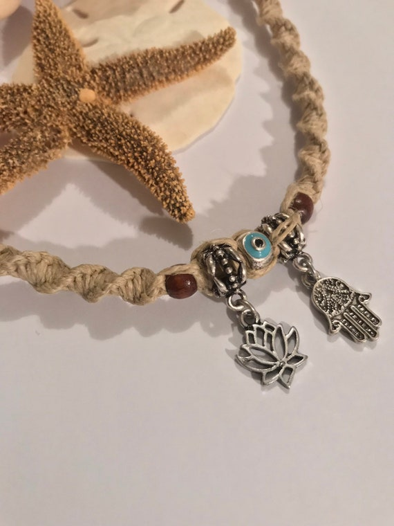 Handmade Charm Hemp Necklace with Hamsa and Lotus Charms Evil Eye Bead