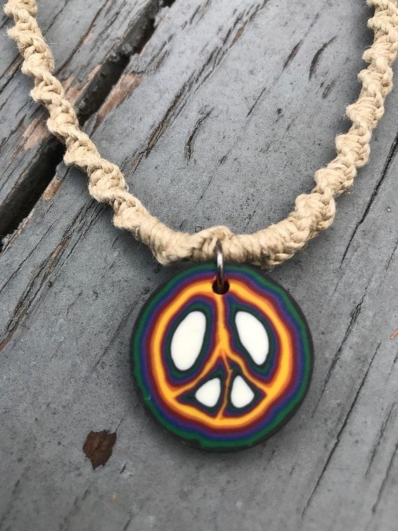 Handmade Hemp Necklace Clay Peace Disc Pendant