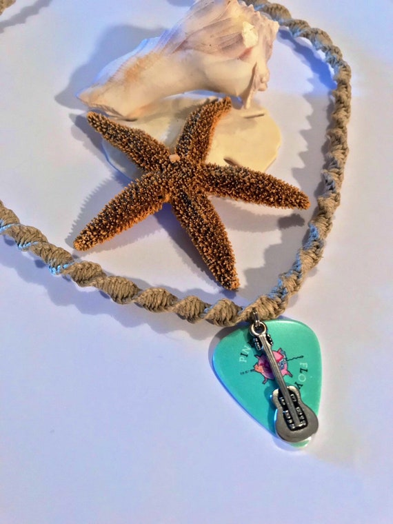 Pink Floyd Handmade Hemp Guitar Pick Pendant Necklace