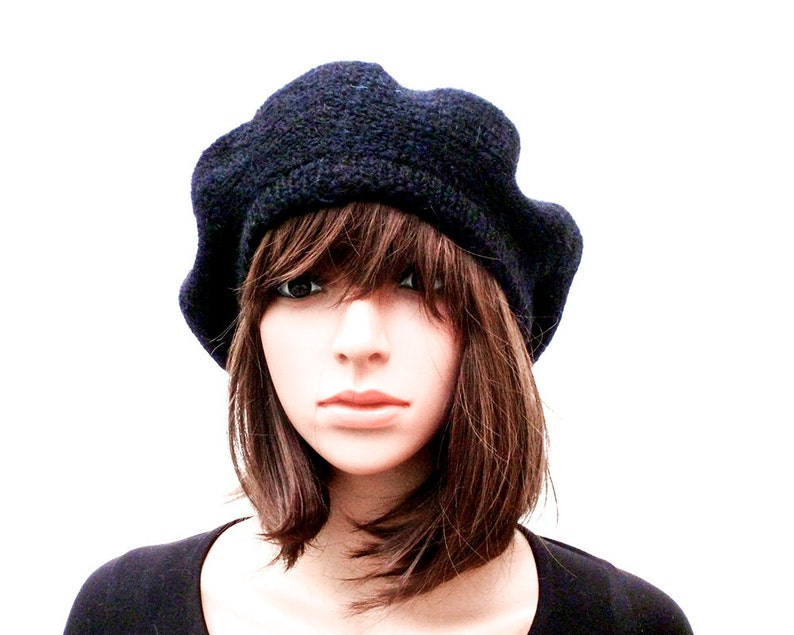 32a2499a1e2 Handmade Hat Beret Black Hat Black Beret Knit Hat Irish